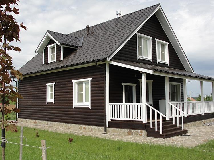 покраска каркасного дома фото